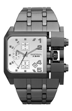 DIESEL® Large Square Gunmetal Bracelet Watch at Nordstrom.com. Structural beams expose the pushers and crown of an industrial watch with a stylized chronograph dial. The finely brushed bracelet tapers to comfortably fit the oversized case.
