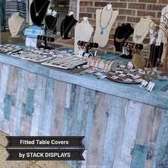 Fitted Table Covers Washable and Durable Fabric by Stack Displays. In Stock Ready to Ship! Bracelet Display, Earring Display, Jewellery Display, Craft Fair Displays, Display Ideas, Market Displays, Booth Displays, Vendor Table, Vendor Booth