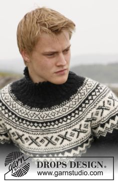 """Knitted DROPS jumper for men with round yoke and Norwegian pattern in """"Karisma"""". Size: S to XXXL. Free pattern by DROPS Design. Fair Isle Knitting Patterns, Sweater Knitting Patterns, Free Knitting, Ugly Sweater, Ugly Christmas Sweater, Men Sweater, Drops Design, Xmas Gifts For Him, Fair Isles"""
