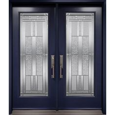 Double entry door from Prestige Collection with Cachet decorative glass inserts