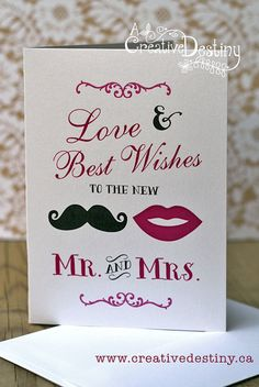 Love & Wishes  Wedding Greeting Card by ACreativeDestiny on Etsy, $4.00