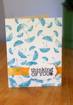 Thinking of You Card Thank You Card Note by MrsKristenCreations