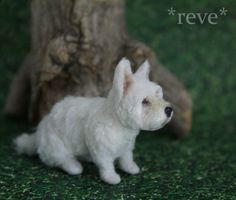 OOAK Realistic Handmade ~ White Terrier Dog ~ Miniature 1:12 Sculpture * Reve #Handmade