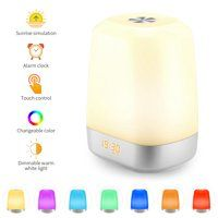 Wake Up Light Sunrise Simulation Light Alarm Clock Light Rechargeable Touch Sensor Control 5 Natural Sound Sunrise Alarm Clock Led Night Light Alarm Clock