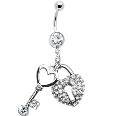 #piercing #bellyring $12.99 Clear Gem Key to Your Heart Belly Ring
