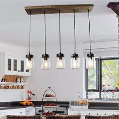 Unique Country Kitchen Decor Ideas By Using Mason Jars - Home Design - lmolnar - Best Design and Decoration You Need Kitchen Lighting Design, Farmhouse Kitchen Lighting, Farmhouse Kitchen Island, Kitchen Island Lighting, Kitchen Lighting Fixtures, Dining Room Lighting, Kitchen Decor, Light Fixtures, Kitchen Ideas