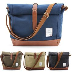 NEW 2-WAY CANVAS PU MENS BAG BACKPACKS OR CROSS BODY MESSENGER BAG SHOULDER BAGS