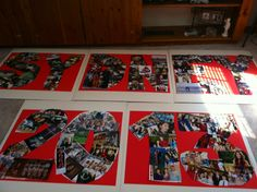 Shape your picture collages like letters, numbers, a school logo/mascot, or any object really!! Fun idea, an alternative to boring photo boards.