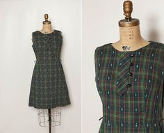 vintage 1960s plaid dress L by StopTheClock on Etsy