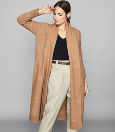REISS All Womenswear - an unrivalled collection of stylish all our womenswear. Available to buy at REISS, shop the collection online now. Beige Sweater, Work Wardrobe, Wide Leg Trousers, Work Attire, Knit Cardigan, Jumper, Cardigans For Women, Trendy Outfits, High Fashion