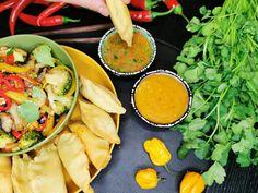 OPPSKRIFT PÅ LAVKARBO FRITERT DUMPLINGS Fish Sauce, Dumplings, Cantaloupe, Chili, Spices, Fruit, Food, Spice, Chile