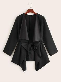 Plus Size Black Wide Collar 3/4 Length Sleeve Belted Peplum Jacket  Women's. Women's Black 3/4 Length Sleeve Belted Peplum Jacket Plus Size.     #Fashion #Style #PlusSizeFashion #PlusSizeStyle #CurvyGirl  #curvy #curvyfashionista Trendy Plus Size Fashion, Plus Size Casual, Plus Size Outfits, Poncho Coat, Vest Coat, Coats For Women, Jackets For Women, Clothes For Women, Peplum Plus Size