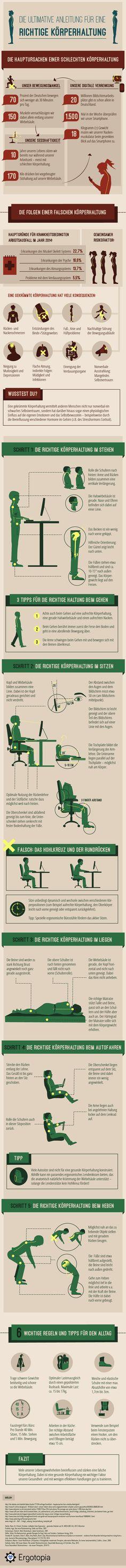 [Infografik] Die ultimative Anleitung für eine richtige Körperhaltung im Alltag und beim Arbeiten