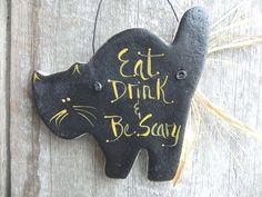 Black Cat Halloween Salt Dough Ornament Hanging Fall Decoration. $4.95, via Etsy.