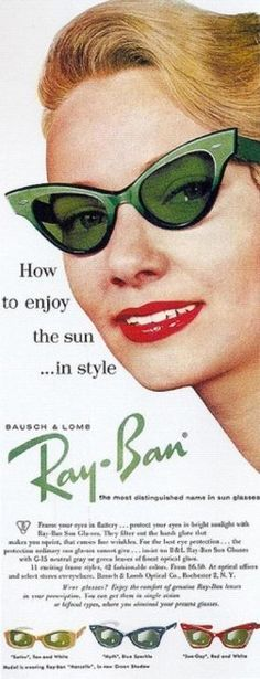 Ray Ban. Women sophistication of the '50s.