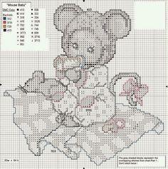 Hobby lavori femminili - ricamo - uncinetto - maglia: Schema punto croce baby animals Topo