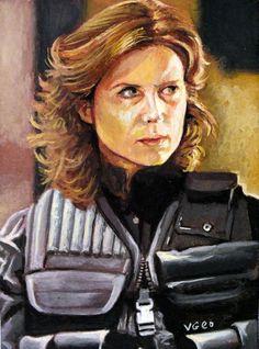 Original ACEO Elizabeth Weir _ Torri Higginson_ on Stargate Atlantis by V.Geo