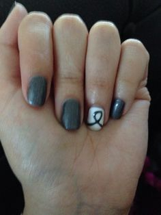Brain Cancer Awareness manicure - I think I'd like a lighter shade of gray, but I love this idea.
