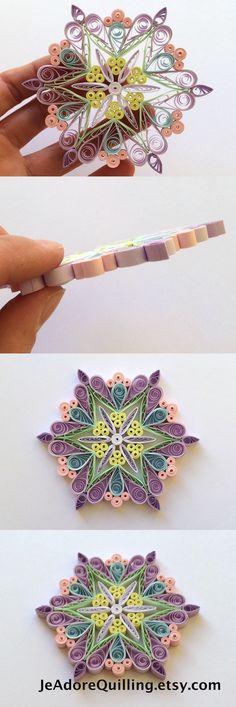 Snowflake Candy Purple Yellow Pink Christmas Tree Decoration Winter Ornament Gift Topper Fillers Office Corporate Paper Quilling Quilled Art