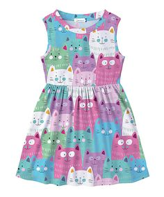 Take a look at this Pink & Lavender Cat Sleeveless Dress - Toddler & Girls today! Toddler Girl Dresses, Toddler Outfits, Kids Outfits, Girls Dresses, Toddler Girls, Toddler Fashion, Fashion Kids, Glam Girl, Cute Baby Girl