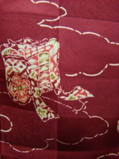 Vintage  Japanese damask silk kimono fabric 13x35 by KIMONOCARDS, $8.00