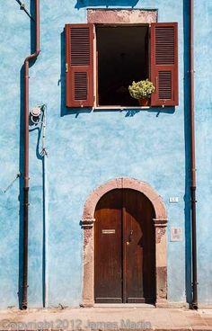 Colorful houses on Sardinia, Sardegna , ITALY