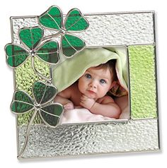 Irish Picture Frame - Stained Glass Picture Frame with Green Shamrocks - Irish Gift - Irish Picture Frame for Baby - Irish Picture Frame for Family - Irish Wedding - Ireland Vacation Pictures >>> You can get additional details at the image link. Picture Frames For Sale, Picture Frames Online, Picture Frame Sizes, Stained Glass Panels, Stained Glass Patterns, Glass Art Pictures, Glass Picture Frames, Irish Baby, Stained Glass Ornaments