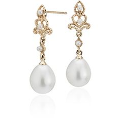 Blue Nile Freshwater Cultured Pearl Vintage-Inspired Drop Earrings ($210) ❤ liked on Polyvore featuring jewelry, earrings, vintage teardrop earrings, vintage drop earrings, vintage filigree earrings, fresh water pearl earrings and vintage style jewellery