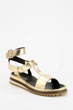 ALL BLACK Metallic T-Strap Sandal