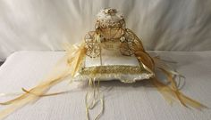 New-Ring Bearer Wedding Pillow-Cinderella Carriage-White