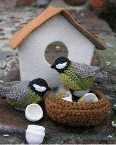 Crocheted chickadees