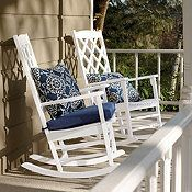 Porch rocking chair - A vintage porch rocking chair can make an elegant addition to any room in your house. Most vintage porch rocking chair in contrast Outdoor Rocking Chair Cushions, White Rocking Chairs, Rocking Chair Front Porch, Wooden Rocking Chairs, White Porch, Vintage Porch, Pergola Swing, Pergola Ideas, Porch Swing