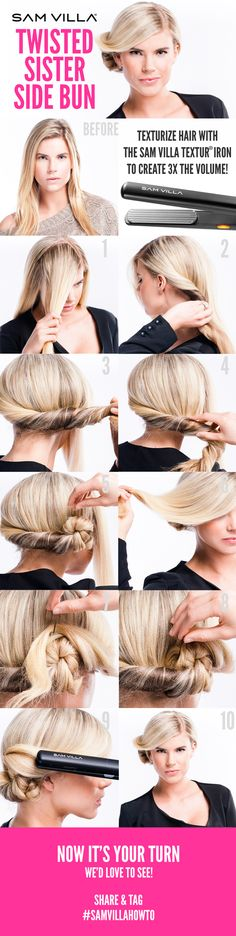Sam Villa tutorial for a twisted side bun