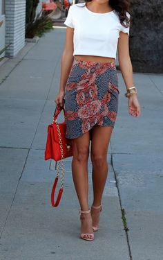 Patterned wrap skirt & crop top love the skirt and shoes a little fitted ticked I'm white shirt would be perfect.