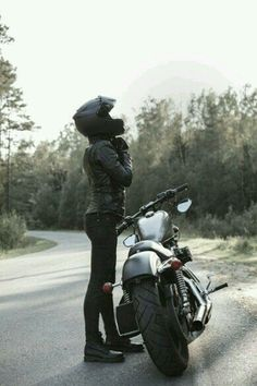 Sexy girl biker and cafe racer motorcycle by JohanJK. Young pretty cheerful woman putting on motorcycle helmet. Girl biker with perfect fit slim body and custom chopper mo. Best Motorcycle For Women, Female Motorcycle Riders, Motorbike Girl, Cafe Racer Motorcycle, Motorcycle Style, Motorcycle Outfit, Motorcycle Helmets, Motorcycles For Women, Honda Motorcycles