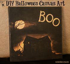 Easy DIY Halloween Canvas using Mod Podge via momendeavors.com