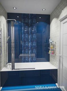 Бело-синяя ванная комната. Ванная
