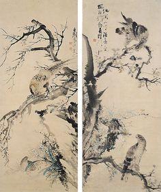 오원 장승업 (1843~1897), 쌍취도, 호취도: 오원(吾園)은 패기에 찬 의욕적인 작가이기 때문에 같은 대상을 표현할 때에도 아름다움보다도…