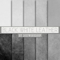 Leather Digital Paper: Black / White Leather with by DigiWorkshop