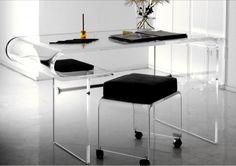 curve clear acrylic desk