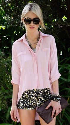 pastel silk blouse + patterned shorts.