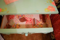 cute beside table my friend @Alexia Rice made -- she mod podged the drawers with scrapbook paper -- SO cute!