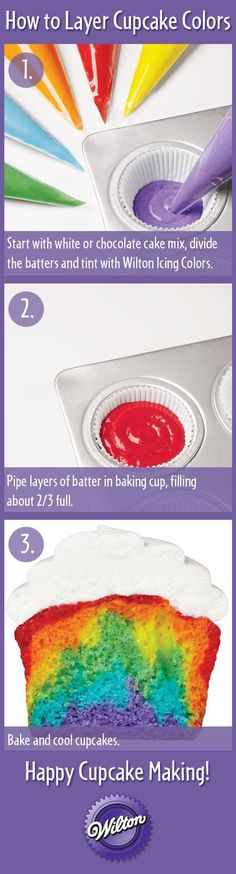 Rainbow cupcakes. How to layer your cupcake batter. Have fun with your cupcake batter!