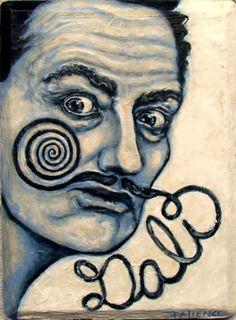 Original Painting by PATIENCE 5x7 Salvador Dali Moustache Surreal NFAC eyes ebsq #Surrealism