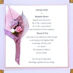 Lilac Wedding Invitation Pocketfold Boutonniere by PetalsnLace, €4.80