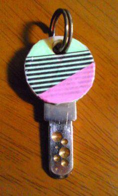 Sleutel versieren met washitape