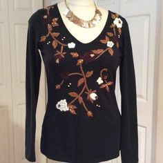4 for $12.00. INC Black Embroidered Top Slight wear that's not noticeable. INC International Concepts Tops