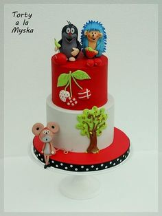 my little girl turned she gave me the instructions for a cake – Krtek (czech famous cartoon) with his friends, cherries and cherry tree… love her shining eyes when she saw it La Petite Taupe, Woodland Cake, Character Cakes, Little Cakes, Baby Cakes, Sugar Art, Edible Art, My Little Girl, Celebration Cakes