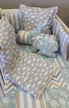 If you're wanting a Woodland Theme nursery for your Little Boy, our combination of Stripes, Spots and Zig Zags in Duck Egg, Grey and Taupe is perfect with a touch of Clouds for any Little Boy's Nursery!