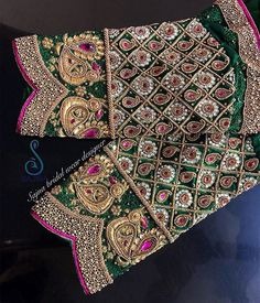 To get your outfit customized visit us at Chennai, Vadapalani or call/msg us at / for appointments, online order… - Peacock Blouse Designs, Wedding Saree Blouse Designs, Pattu Saree Blouse Designs, Fancy Blouse Designs, Wedding Blouses, Saree Wedding, Maggam Work Designs, Designer Blouse Patterns, Designer Wear